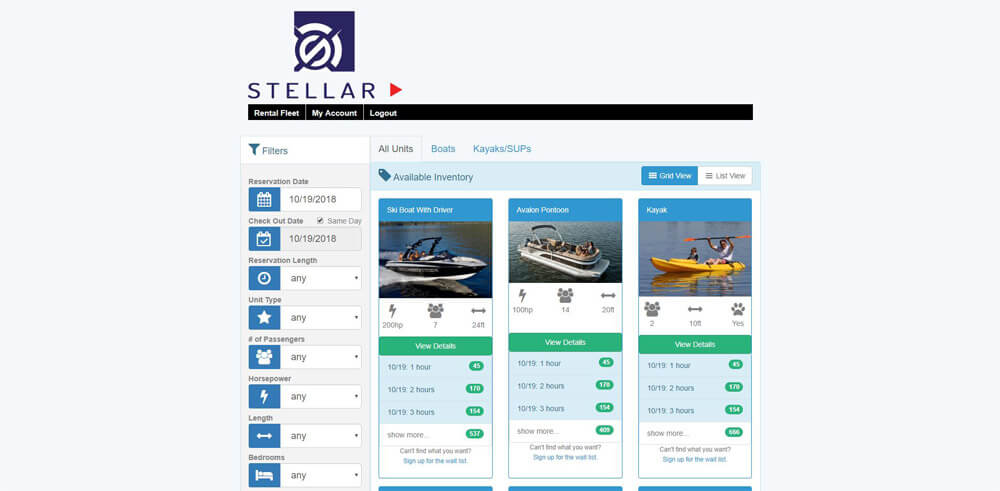 Online booking and rental management software – Stellar IMS